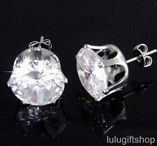 12MM ROUND DIAMANTE CUBIC ZIRCONIA CZ HIP HOP MENS STUD EARRINGS W GOLD PLATED