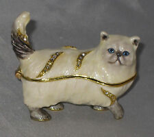 WHITE PERSIAN Cat Trinket Box Crystals Magnetic Closure Blue Eyes Kitty Meow New