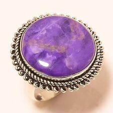 MAGNIFICENT SUGILITE ETHNIC STYLE 925 SILVER RING 9 R-120