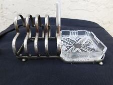 ART DECO STYLE PLATED BREAKFAST SET TOAST RACK & BUTTER / PRESERVE STAND