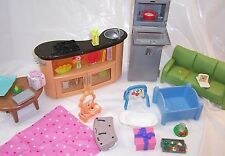 2007 Mattel Dollhouse Furniture,Barbie Dolls,Kitchen,Lighted Table,Refrigerator