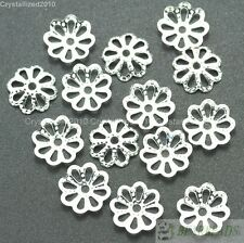 100Pcs Silver Pewter Gold Plated Over Copper 6mm Flower Curved Bead Caps Beads