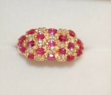 14k Solid Yellow Gold Cluster Band Ring, Natural Ruby and Diamond 0.40CT, Sz7