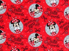 DISNEY MINNIE MOUSE TOO CUTE FOR WORDS COMIC STRIP 100%  COTTON FABRIC  YARDAGE