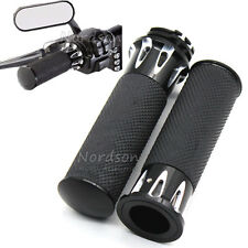 """CNC Rubber Handlebar Hand Grip For Harley Sportster Touring Dyna Softail 1""""25mm"""