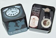 Leonardo da Vinci Backwards Wrist Watch in Tin Gift Box Unemployed Philosophers