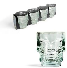 Kikkerland Set Of 4 Glass Skull Shot Glasses Drinking Party Shooter Glass Bar