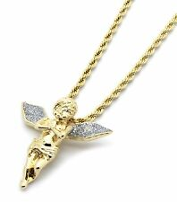 "Mens 14k Gold Plated Si Stardust Long Wings Angel Pendant Hip-Hop 24"" Rope Chain"