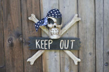 SKULL & CROSSBONES PIRATE JOLLY ROGER KEEP OUT SIGN WOOD HAND MADE