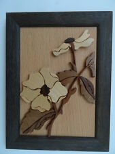 Flower Picture Hand Crafted in England from 100% Natural Wood. Frame 21cm x 16cm