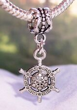 Captains Wheel Nautical Aztec Pattern Dangle Bead fits European Charm Bracelets