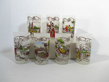 Currier Ives Glasses Frosted Tumblers Buggy Paddle Boat Train Vtg 1950 Set of 7