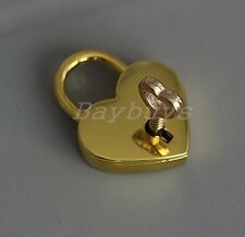 2pcs Height Polished Gold-plated Heart Shaped Functional Padlock and Key