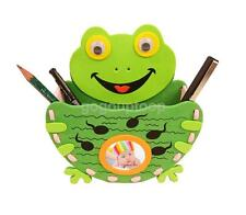 EVA Foam Frog Shape Pen Container Holder Kit Kids Children DIY Art Crafts