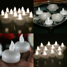 12 White Amber LED Waterproof Floating Tea Light Flameless Candle Wedding Party