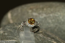 sterling silver ring 925 jewellery citrine CZ womens size 8.5 Q 58 Christmas