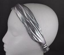 Silver shiny lamé fabric turban twist stretch headband turband hair head band