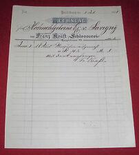 """rechnung alt antik schlosser franz kraft heidelberg """"hochwohlgeborne""""1896 papier"""