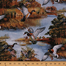Silver Lake Ducks Hunting Nature Birds Cotton Fabric Print by Yard D479.08