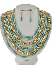 Multi Layers MultI Mint Lucite Bead Gold Tone Snake Link Necklace EarringN Set