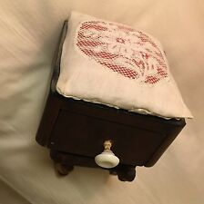 Antique Vintage Wood Swedish Floral Lace Drawer Sewing Needlework Pin Cushion