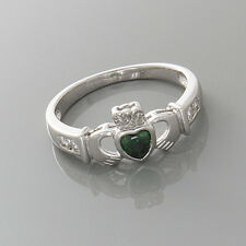 925 Sterling Silver Ring, Green CZ Heart Shaped Claddagh, Size 7