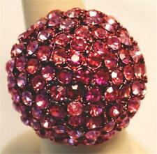 Fuchsia Dome Stretch Cocktail Ring Paved in Pink Crystals