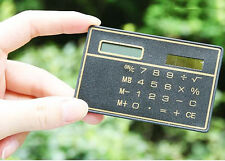 8 Digits Ultra Thin Mini Slim Credit Card Solar Power Pocket Calculator Black
