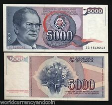 YUGOSLAVIA SERBIA 5000 DINAR P93 1985 TITO *REPLACEMENT* AUNC CURRENCY BILL NOTE
