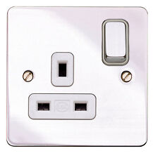 MK Edge Flatplate 1G DP Switched Plug Socket Polished Chrome White K14357 POC W