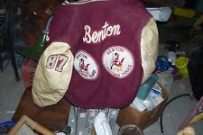 VINTAGE jacket benton high school metals , badges , lettermans patches size 42