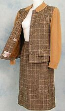 MOD 60s VtG SCOTLAND WOOL BOUCLE PLAiD SWEATER KNiT DRESS LOOP JACKET SKiRT SUiT