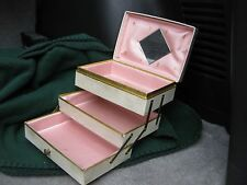VINTAGE Jewelry BOX 3 STAIR STEP OPEN PINK INSIDE w MIRROR off White Gold RETRO