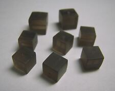 Smoky Quartz Brazil Brown 10mm and 8mm Cubes Frosted Drilled 8pcs 64.00 Carats