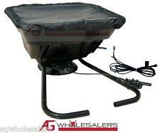 12V ATV FERTILISER SEED SPREADER 36KG HOPPER NON TOWABLE. VOLT RIDE ON MOWER