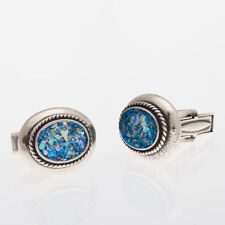 Stylish Men 925 Sterling Silver Authentic Roman Glass Cuff Links Jewelry