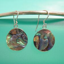 "3/4"" Drop Abalone Paua Shell Handmade 925 Sterling Silver Earring"