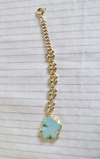 Old Antique Vintage Pocket Watch Chain FOB w/Light Turquoise Stone Gold Trim