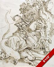 SAINT GEORGE & THE DRAGON PATRON ENGLAND PEN INK PAINTING ART REAL CANVAS PRINT