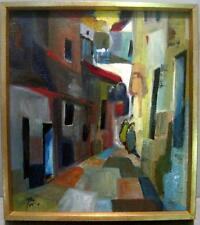 EXCELLENT MID-CENTURY MODERN ABSTRACT OIL ON CANVAS ISRAELI ARTIST