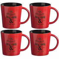 Set Of 4 370ml Red Specialty Mugs Novelty Stoneware Tea Coffee Latte Drinks Cups