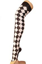 Ladies Black and White Diamond Check Over The Knee Socks