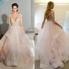 Romantic Ball Gown Blush Wedding Dress Long Sleeve Layered Tulle Bridal Gown New