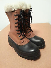 Vintage Mens J Crew Winter Snow Brown Leather Rubber Lace Up Duck Boots Size 8