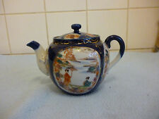 Antique  Chinese Blue Imari Teapot Landscape Scenes