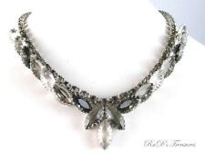 Vintage Grey & Clear Rhinestone Open Back Silver Tone Choker Necklace 16""