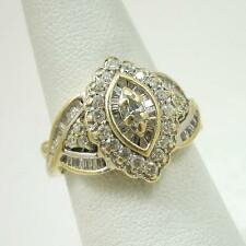 $2685 Solid 14K Yellow Gold 1.0 Carat Diamond Cluster Ladies Ring Size 5.5