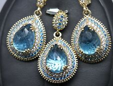 Turkish Handmade 925 Sterling Silver Aquamarin Ladies Set