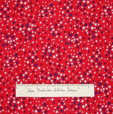 """Patriotic Fabric - White & Blue Stars on Red American USA - Springs Cotton 28"""""""
