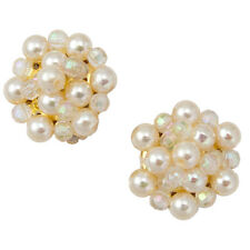 New Faux Pearl Clear Beaded Cluster Clip On Earrings